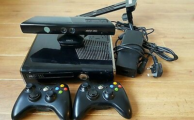 Microsoft Xbox 360 Slim Kinect Bundle 250 GB Glossy Black Console 2 controllers