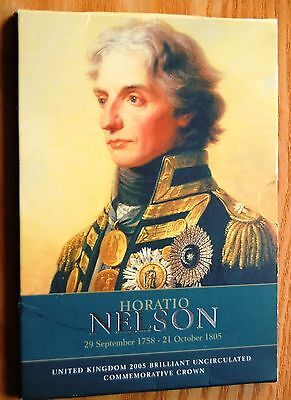UK 2005 Lord Horatio Nelson £5 Crown Coin In Royal Mint Presentation Pack #