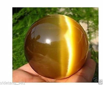 40MM + STAND Beautiful ASIAN QUARTZ TIGER EYE CRYSTAL HEALING BALL SPHERE