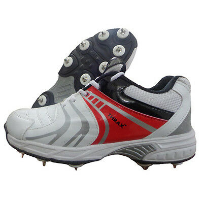 Thrax Revo Full Spike Cricket Shoes White and Red good quality Rubber toe