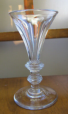 Antique 19th Century GLASS Cut Paneled GOBLET Triple Disk Knop Stem LOVELY !