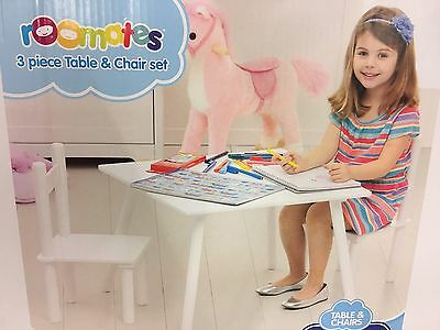Kids table and chairs set Indoor Children Toddler Activity White Furniture