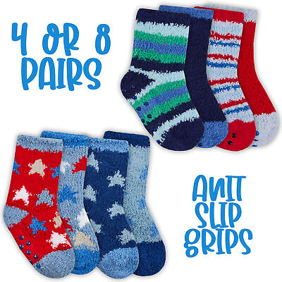 Newborn Infant Baby Boys Cosy Fluffy Socks 4 Pair Anti Slip Grippers Sizes 0-5.5