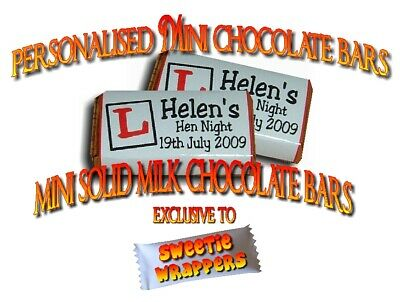 Personalised Mini Milk Chocolates Divine Fairtrade Hen Night Party Favours