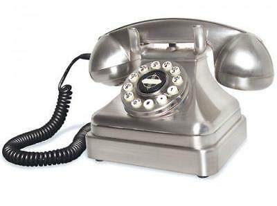 Classic Silver Phone Art Deco 1930s Chrome Lobby Telephone Retro by Wild & Wolf