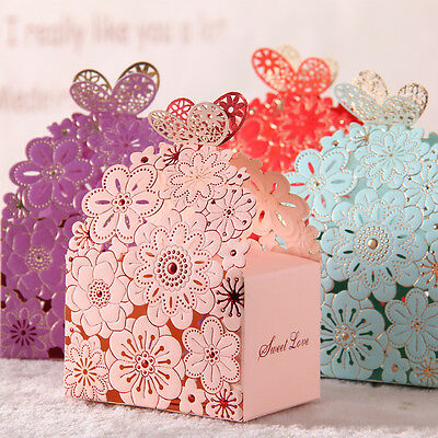 50pcs Laser Cut Cake Candy Gift Boxes Wedding Favors Baby shower Boxes