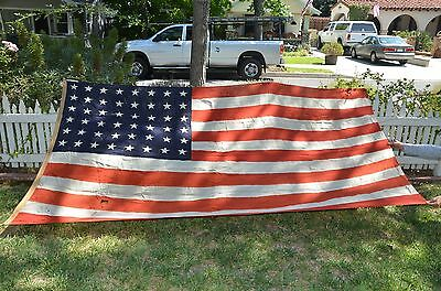 "Huge ANTIQUE 48 STAR AMERICAN FLAG WWI WOOL Hand SEWN STAR STRIPEs-120"" X 64"""