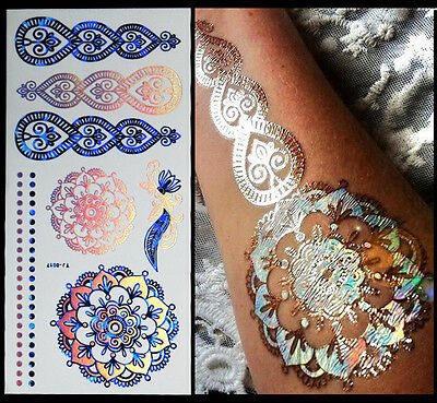 Silver Glitter Temporary Flash Tattoo Body Henna Transfer Sticker Gold Sticker