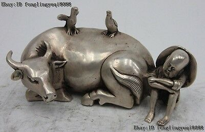 Chinese White Bronze Silver Two Bird on Cattle Back Ox Oxen Shepherd Boy Statue