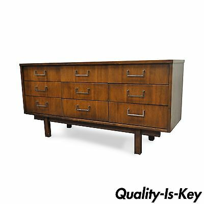 "60"" Vintage Mid Century Modern Danish Style Walnut Chrome 9 Drawer Dresser Chest"