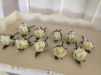 Wedding Artificial X1 Rose Button Holes Vintage Ivory/cream Just £1 Each