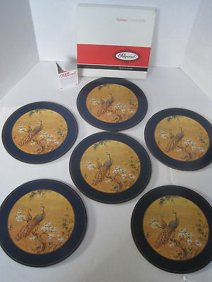 Set of 6 Vintage PIMPERNEL Place Mats Round Navy Border PEACOCKS in BOX RARE