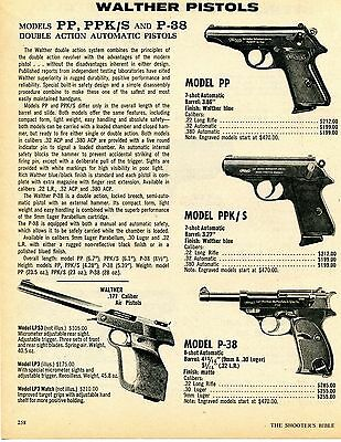 1976 Print Ad of Walther Model PP PPK/S P-38 Pistol & Model LP3 Air Pistol