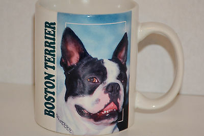 Boston Terrier Coffee Mug Cup Color Photo History Green Letters