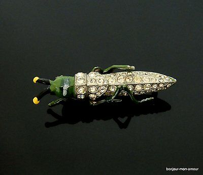 alte, Art Deco Grashüpfer Strass Brosche, Grasshopper brooch, Broche, RAR