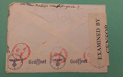 Germany WWII    Double censored cover   Germany to Canada