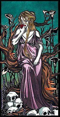 "Gothic greek Persephone underworld flowers skulls comic FANTASY ART 8"" x 10"""