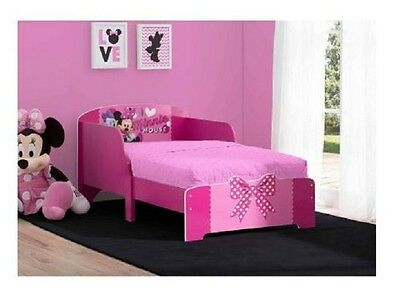 pink girls toddler bed frame wood twin size minnie mouse modern kids bedroom