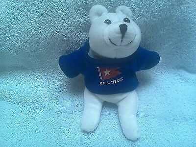 Stuffed Bean Bag White Polar Bear with Blue RMS Titanic Tee Shirt