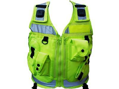 Hi Vis Yellow Tactical Patrol Vest for Police, Officer, PCSO, Security, Cop, 999