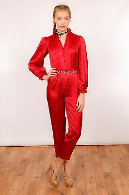 70s vintage red ruffle high neck satin jumpsuit romper suit by Ziba
