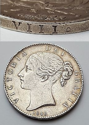 1845 - Viii - Coin - Queen Victoria - Solid Silver One Crown / Five Shillings