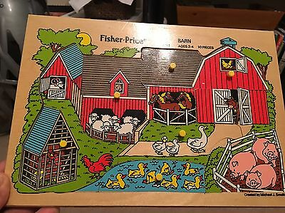 Vintage 1984 Fisher Price Wooden Peg Puzzle Barn Farm #2711