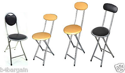Folding Breakfast Bar Stool Kitchen High Chair Portable Folding Chair - 2 Sizes