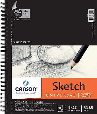Canson Universal Sketch Book 9 Inch X 12 Inch-100 Sheets 030674076131