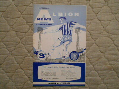 West Brom V Liverpool First Division Match Programme October 1962