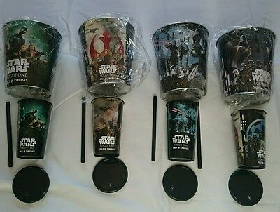 Complete set of 4 Star Wars Rogue One Limited Edition Popcorn Bucket & Cups New