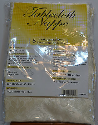 Tablecloth And 6 Napkins - 60 X 84 Rectangle - Ivory
