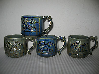 American Eagle Spread Wing on Banner Coffee Cup Mug Set of 4 Gerry Hand Made