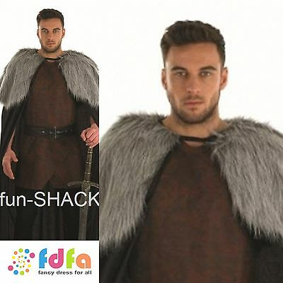 MEDIEVAL JON SNOW CAPE GAME OF THRONES Adults One Size Mens Fancy Dress Costume