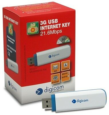 Chiavetta Internet Key 3G Modem Usb Dongle Digicom Fino A 21.6 Mbps Universale