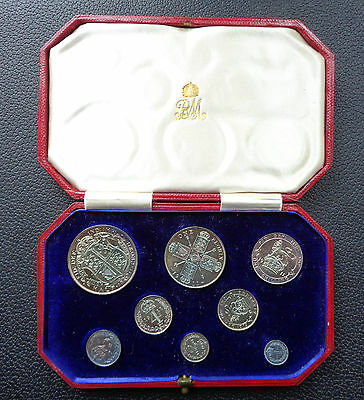 Rare 1911 Silver Proof Short Set, 8 Coins Halfcrown To Maundy Penny,