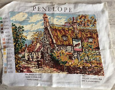 Completed Tapestry The Fox Country Pub Penelope design Autumnal Hues