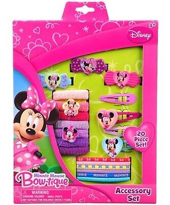 Girls Hair Set 20 Styling Accessories Disney Minnie Mouse Clips Elastics New