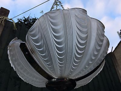 Beautiful Art Deco Chrome Frosted Clam Shell Ceiling Light Odeon Style