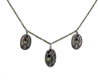 Mickey Mouse Sterling Silver Enamel Charm Child's Necklace three charms c1930