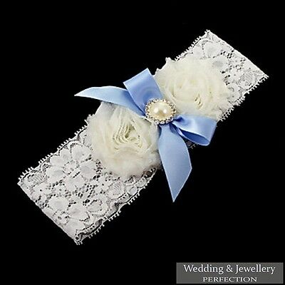 Wedding Garter Lace Satin Blue Bow Bridal Hen Pearl Diamante White Ivory New