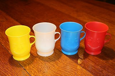 Vintage Original Kool Aid Plastic Cups with Smile Faces Four in Total colours