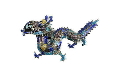 Chinese Sterling Silver Filigree Cloisonne DRAGON Brooch. c1920