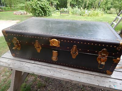 Vintage Antique 30s - WW2 Leather Brass Steamer Trunk Suitcase with Divider