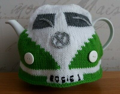 Handmade knitted tea pot cosy Retro Campervan gift personalised colour & name