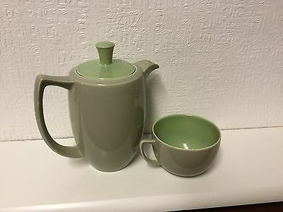 Vintage Branksome China TWO POTS AND ONE CUP TWO TONE GREY AND GREEN