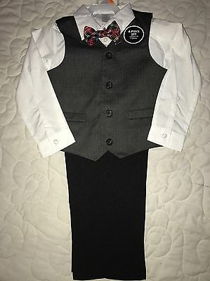 NEW Toddler Boys Size 4T Suit Vest Bow tie Shirt Pants Easter Wedding Outfit