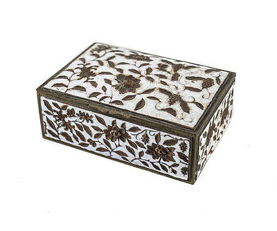 Chinese Repousse Brass & Copper White enamel box fruit and floral designs c1900
