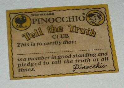 1953 Weatherbird Pinocchio Tell the Truth Club Card disney premium ring