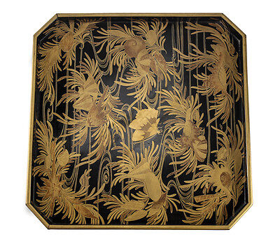 Japanese Makie Hand painted gilt Lacquerware Wood Tray butterflies water c1920